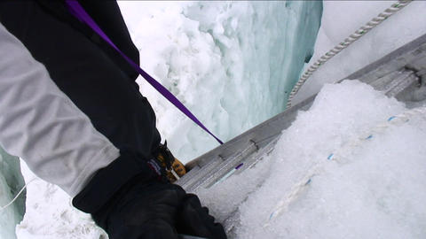 Climber coming off ladder Stock Video Footage