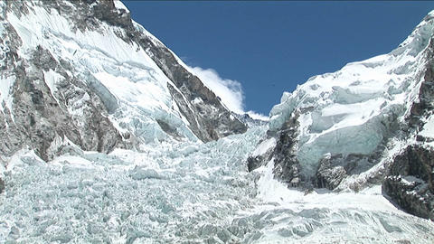 Pull back from Khumbu icefall Footage