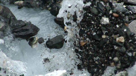 Focus from rocks to glacial stream Footage