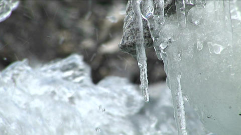 Water dripping off icicles, water rushing by Stock Video Footage