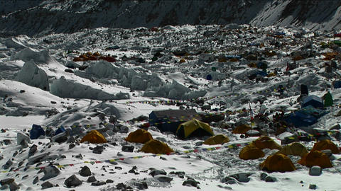 Pan of tent city of Everest Basecamp Stock Video Footage