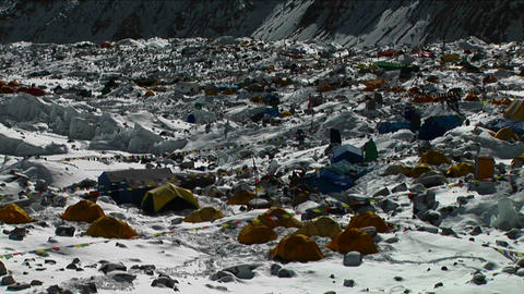 Pan of tent city of Everest Basecamp Footage
