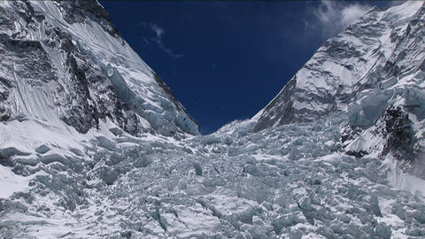 Zoom in on top of Khumbu icefall Stock Video Footage