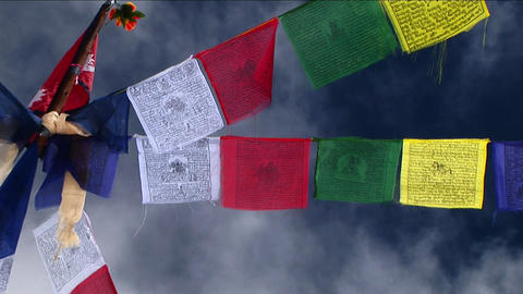 Shot of central pole holding prayer flags Stock Video Footage