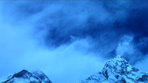 Clouds over Everest in blue light Footage