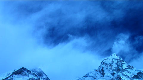 Clouds over Everest in blue light Stock Video Footage