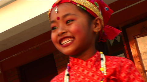 Little girl dancing in traditional outfit at child haven Footage