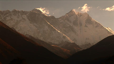 Everest and Lhotse from Tengboche Stock Video Footage
