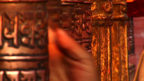 Spinning of prayer wheels Stock Video Footage