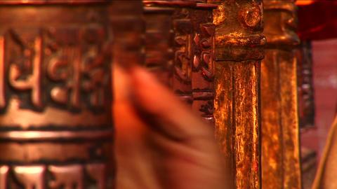 Spinning of prayer wheels Stock Video Footage