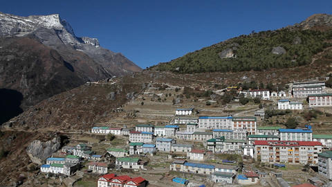 Pan of Namche Bazaar in daylight Footage