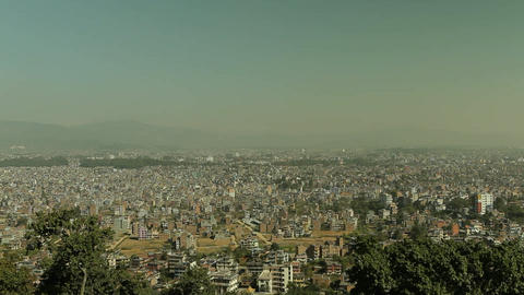 Pan of Kathmandu from foothills Stock Video Footage