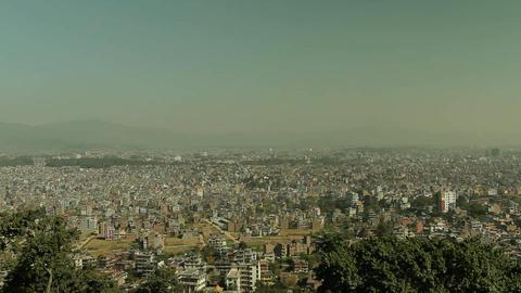 Pan of Kathmandu from foothills Stock Video Footage