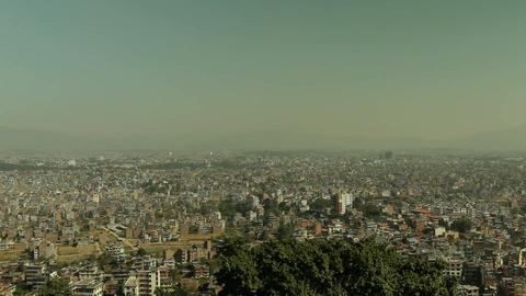 Pan of Kathmandu from foothills Footage