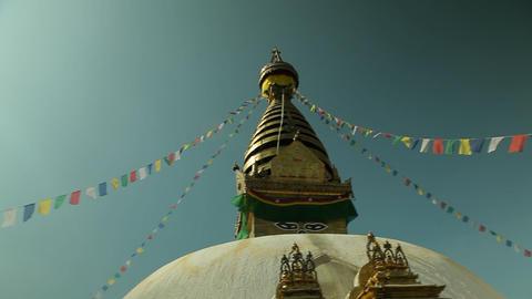 Swayambhunath temple in Kathmandu pan Footage