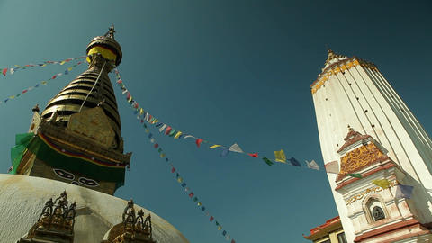 Swayambhunath temple in Kathmandu pan Stock Video Footage