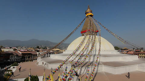Wide-view of Boudhanath in Kathmandu Footage