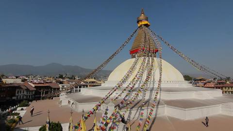 Wide-view of Boudhanath in Kathmandu Footage