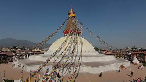 Wide-view of Boudhanath in Kathmandu Stock Video Footage