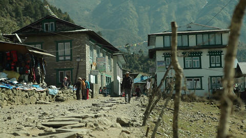 Man walking down road in Lukla Footage