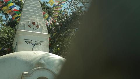 Glide revealing stupa in Kathmandu Footage