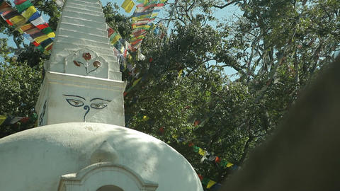 Glide revealing stupa in Kathmandu Stock Video Footage