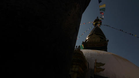 Glide revealing Swayambhunath temple Stock Video Footage