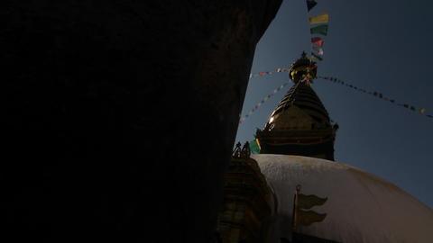 Glide revealing Swayambhunath temple Stock Video Footage