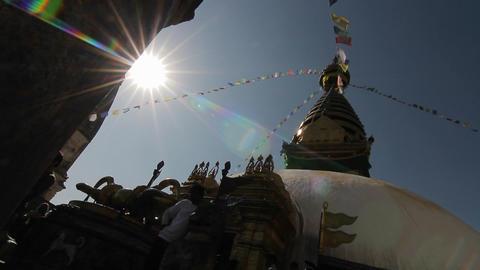 Glide revealing Swayambhunath temple Footage
