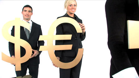 Business team standing in a row and holding gold currency... Stock Video Footage