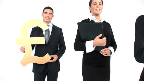 Business team standing in a row, close up of gold pound symbol Footage