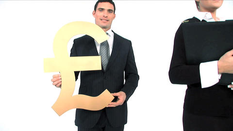 Business team standing in a row, close up of gold pound... Stock Video Footage