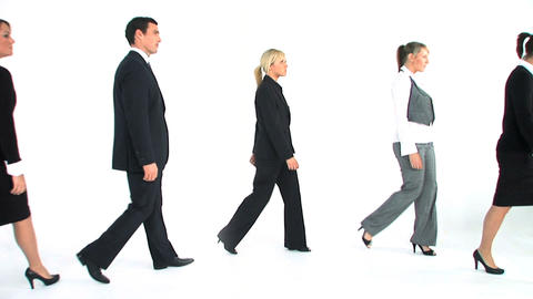 Business team walking isolated on white Stock Video Footage