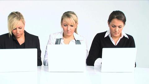 Three women typing on laptop Stock Video Footage