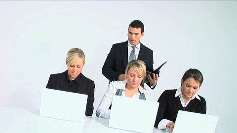Businessman and his team isolated on white Footage