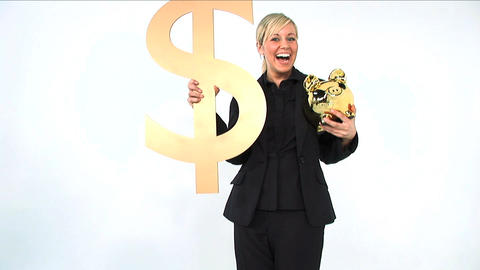 Happy businesswoman holding gold piggy bank and dollar symbol isolated on white Footage