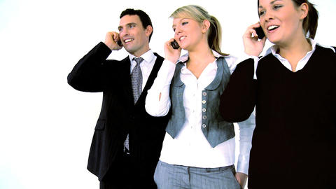 Business people on the phone, motion jib Stock Video Footage