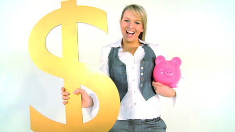 Happy businesswoman holding piggy bank and dollar symbol isolated on white Footage