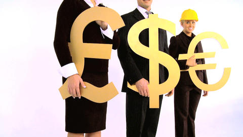 Costruction architect team holding pound, dollar and euro symbol isolated on white, motion jib Footage