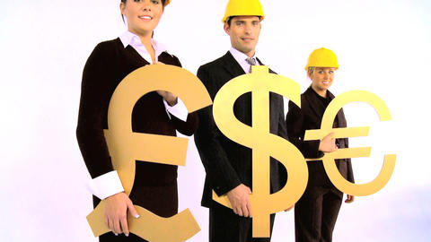 Costruction architect team holding pound, dollar and euro... Stock Video Footage