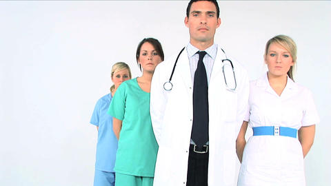 Medical team on white background Footage