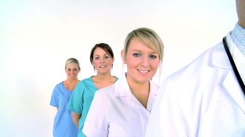 Medical team isolated on white, motion jib Stock Video Footage