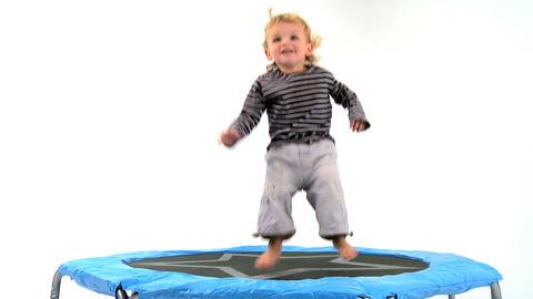 Boy on Trampoline Stock Video Footage