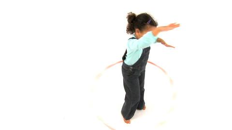 Girl and Hula Hoop Stock Video Footage