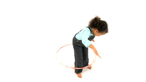 Girl and Hula Hoop Stock Video Footage