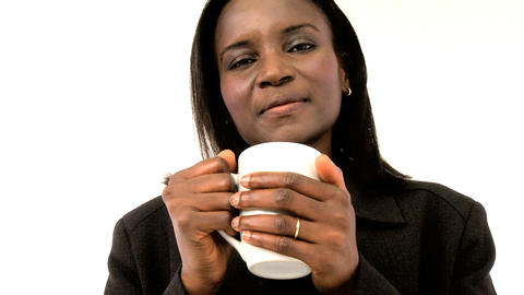 Beautiful american african woman holding mug Stock Video Footage