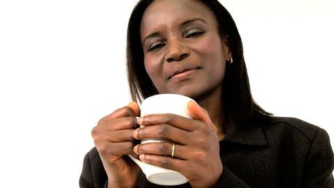 Beautiful american african woman holding mug Stock Video Footage