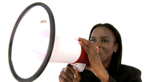 African american businesswoman shouting through a megaphone Footage