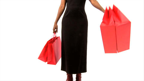 African american woman swinging with shopping bags Stock Video Footage