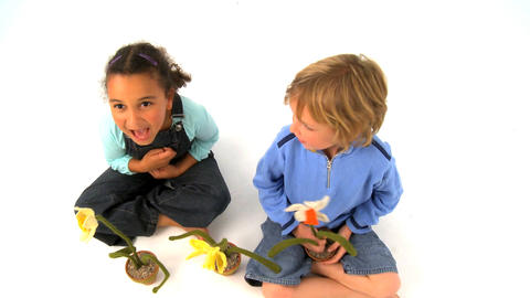 African american girl and blonde boy playing with flowers... Stock Video Footage